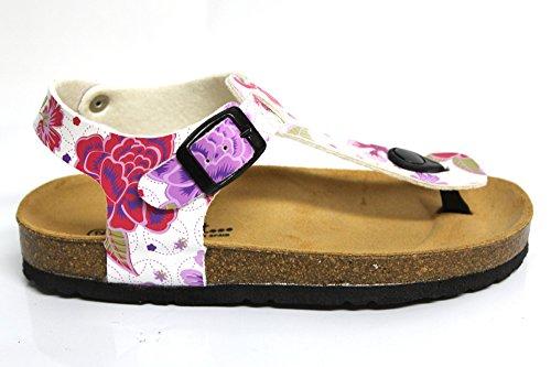 Sweet Sangle Boucle en cuir pour enfant Château de Sable d'été décontracté plat sandales Taille Blanc - Motif floral
