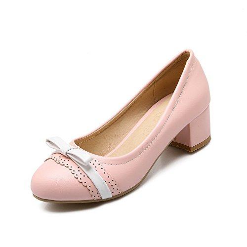 VogueZone009 Damen Rund Zehe Auf Gemischte Farbe Niedriger Absatz Pumps Schuhe Pink