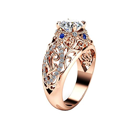 Rose Gold Durchbrochene Blumen Blau Diamant Ring Schmuck Fingerring Ringe Für Dame Frauen Mutter (10) ()