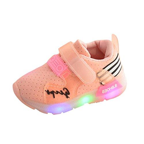 Zapatos Niña,JiaMeng Zapatilla de Deporte para Correr Zapatos de bebé para niñas Zapatos Luminosos LED para niños(Rosado,25)
