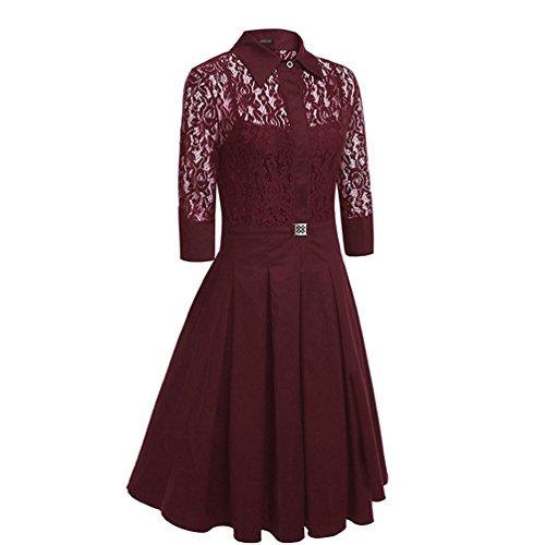 YiLianDa Femmes Robe Vintage Cou Robe En Dentelle Swing Robe De Cocktail Robe De Soirée Manches Longues Vin Rouge