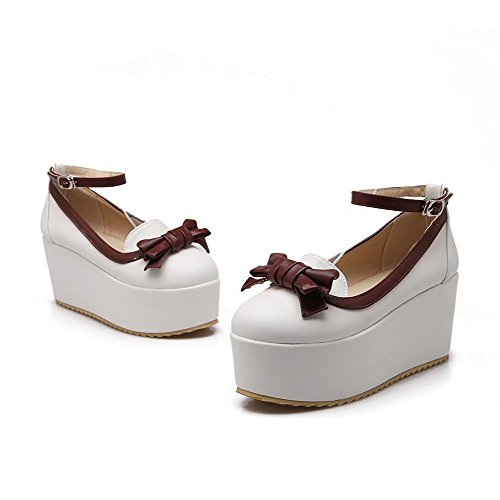 Voguezone009 Alto Bombas Senhoras Fivela De Couro Toe Sapatos Brancos Salto Misturada Cor Pu Rodada d0w0Hqx