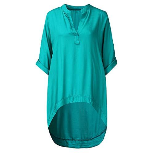 Damen Freizeitoberteil Frauen Baggy Kaftan,Einfarbiges Langarmshirt Lässiges Komfort-Langarm-T-Shirt mit V-Ausschnitt - Farbe Block Tunika Top