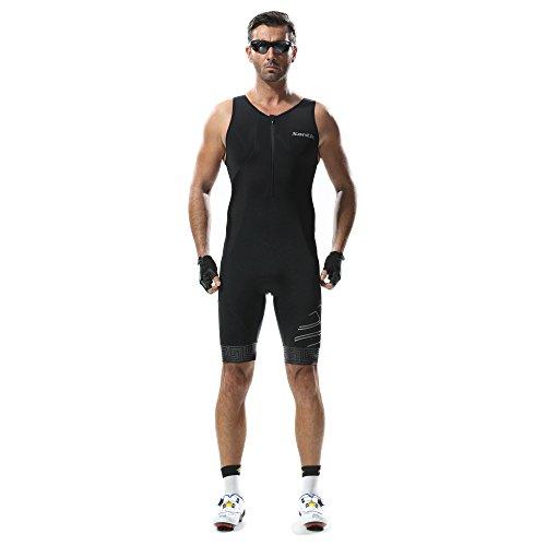 Triathlon Tri Suit ärmellos-Santic Herren skinsuit Swim Bike Run Ironman Racerback, Herren, schwarz (Tyr-triathlon-anzug)
