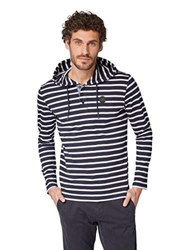 TOM TAILOR Casual Herren Lässiges Langarm T-Shirt mit angesagtem Streifen Muster und praktischer Kapuze Langarmshirt, per Pack Blau (Navy White Breton st 16387), Large (Herstellergröße: L)