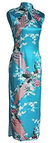 7Fairy Damen Türkis Pfau Chinesisch Kleid Seidig Lang Schlüsselloch Größe De (Mädchen Halloween Kostüme Chinesisches)
