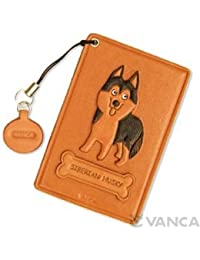 Husky siberiano de piel perro Pass/ID/de crédito/tarjetero/VANCA funda ** Hecho a mano en Japón