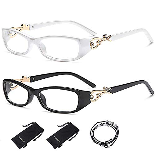VVDQELLA Lesebrille Damen 2,5 Modern Schmal mit Brillenband 2 Stück Leserbrille Hipste Klar Bling in Metallverkleidung Reading Glasses Strass Kristall Vision Brille