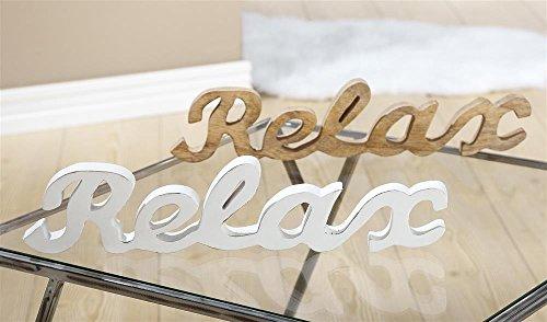 GILDE Holz Relax Schriftzug L 2 x B 44 x H 10 cm Mangoholz Weiss