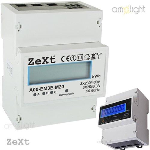 Unterstromzähler Drehstromzähler Hutschiene 80A 3x20 digital 3-Phasen LCD Zext TOP!!!