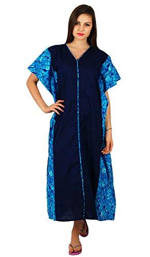 Bimba femmes maxi coton caftan longue pannel kimono caftan taille élastique vêtements de nuit coverup Bleu