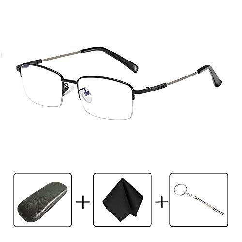 Oito Doppelfokus Lesebrille Anti-blau Metallscharniere Stabile Rahmen Glas-Lese HD-Resin-Tabletten stilvolle und komfortable Brille Set Carry,Blackframe+300