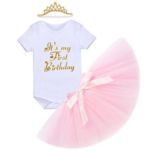 Baby Mädchen 1. Geburtstag Tutu Kleid Set Romper + Rock Tütü Pettiskirt + Krone Stirnband Geschenk Säuglings Prinzessin 3 Stück Outfits Verkleidung Fotoshooting Kostüm Weiß