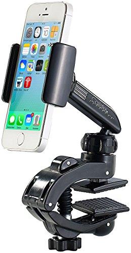 Callstel Handy Halterung Klemme: Kfz- Smartphone-Halterung mit Schraubklemme und Kugelgelenk (Handy Halterung Klammer)