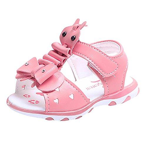 Baby Mädchen Babyschuhe Offene Sandalen LED Leucht Schuhe Weiche Kleinkind Schuhe mit Klettverschluss Freizeit PU Anti-Rutsch Cartoon Bowknot Princess Schuhe Trekking Schuhe für 1-4 Jahre Alt