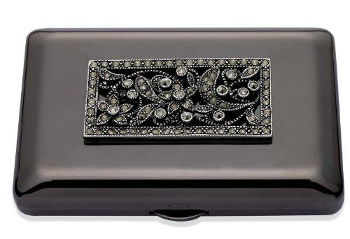 Jodie Rose-Ciondolo placcato in argento con fiore decorativo in Marcasite, colore: nero Specchio compatto