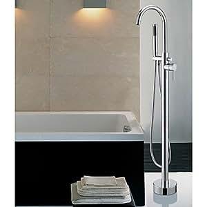 WQQ Zeitgenössische bodenstehend Badewanne Wasserhahn mit Handbrause–Chrom-Finish