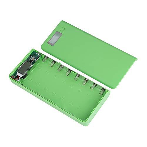 Pangding Batterieleistungs-Bank-Kasten, 8x18650 Doppel-USB-Hafen LCD-Anzeigen-Strom-Ladegerät-Oberteil-Kasten-Kasten(Grün) -