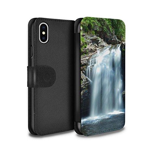 Stuff4 Coque/Etui/Housse Cuir PU Case/Cover pour Apple iPhone X/10 / Montagnes/Loch Design / Campagne Écossais Collection Cascade