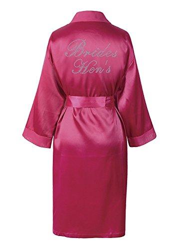 Varsany Hochzeitstag Strass Satin Braute henne Bademantel individueller Flitterwochen Morgenmantel Pink