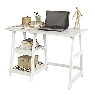 SoBuy® FWT16-W, White Home Office Table Desk Workstation Computer Desk with 2 Storage Shelves, 112x50x76cm