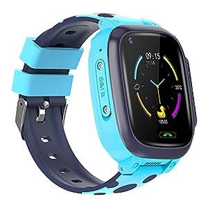 BOERSAND Kinder Smart-Uhr-Handy, Geeignet für Jungen und Kinder Smart-Uhren Von 3 bis 12 Jahre alt, mit SOS-Kamera, für Kinder Geschenk,Blue-OneSize