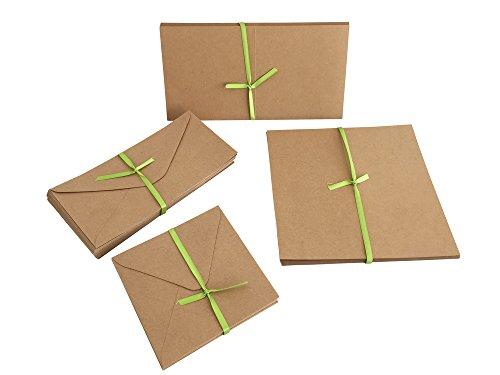 Jumbo Set, Umschläge und Faltkarten aus Naturkarton, 50 Karten + 50 Umschläge in quadratisch und DIN Lang, 100 Teile in einem Set, ideal zum Selbstgestalten - 2