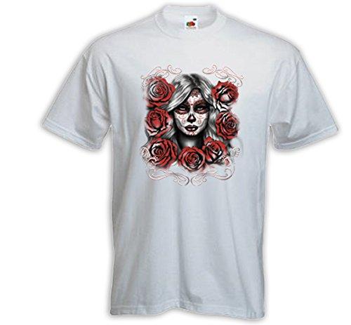 Mexican T-Shirt Roses Girl weiß Sugar Skull Rockabilly Muertos Weiß