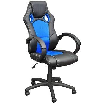 Premium Sportsitz Chefsessel Bürostuhl Racer schwarz/blau 59803