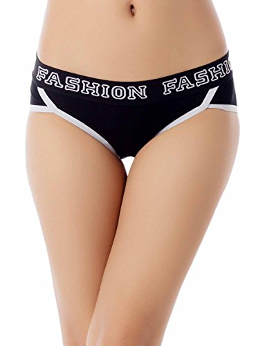 iB-iP Damen Comfort Soft Cotton Sports Fashion Niedrige Leibhöhe Hipster Panty Schwarz