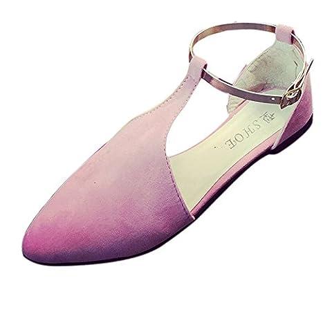 ♥ Loveso ♥ Damenschuhe 2017 Frauen Frühling Sommer Mode Kunstleder Flache Schuhe (39, Pink)