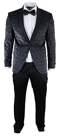 Mens Slim Fit Velvet Paisley Blazer & Trouser Tuxedo Dinner Suit Grey Black