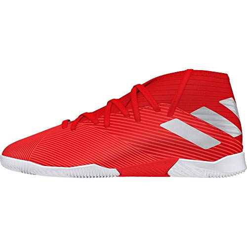 adidas Unisex-Kinder Nemeziz 19.3 In J Fußballschuhe, Mehrfarbig (Active Silver Met./Solar Red 000), 35 EU (Adidas Fußball Schuhe Messi Kinder)