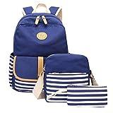 GKOKOD-Backpack 2019 3PC Damen Mädchen Rucksack Segeltuch Laptop Gestreift Handtasche Schulter Rucksack Geldbörse Taschen, Rucksack Damen Groß