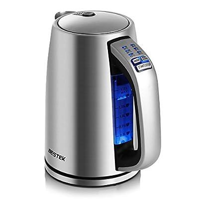BESTEK Bouilloire Électrique Thermostat Réglable Pour Bouilloire à Thé, Bouilloire en Acier Inoxydable Arrêt Automatique, 2200W, 1,7 L Argent sans BPA