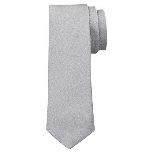 OM3® K-38 TRENDY SKINNY TIE/Modische schmale dünne Krawatte - GRAU - Party Business Schlips Handmade Smoking Anzug Unisex