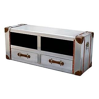 Asia Dragon Industrial style aluminium media unit 2 shelves & 2 drawers