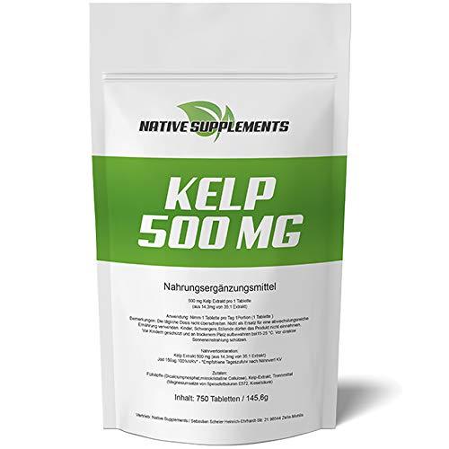 750 Tabletten Kelp Extrakt, 500mg Kelp mit 150mcg natürlichem Jod/Tablette, für Veganer geeignet, See Algen, Entschlackung