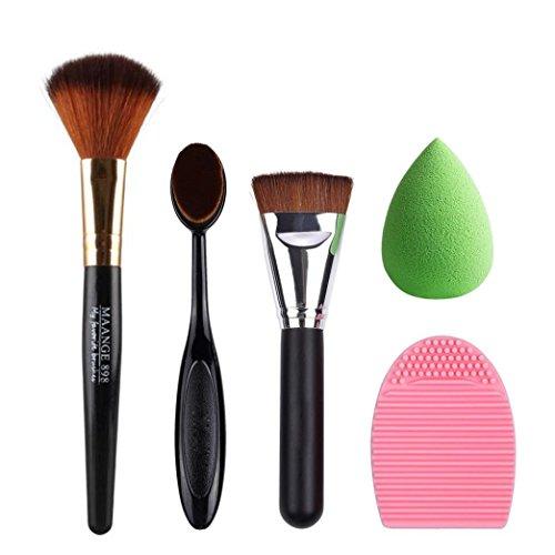 Ouneed® brosse/5pcs maquillage fondation nettoyant Brosse maquillage éponge de maquillage brosse