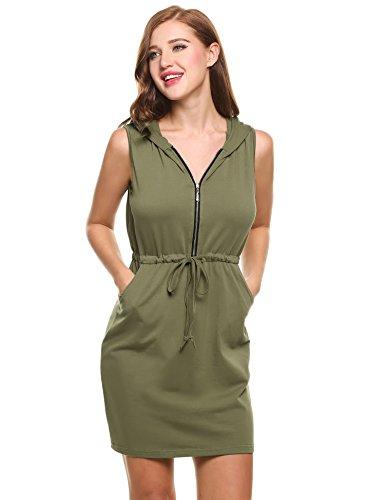 938d67bfe5bb94 Meaneor Damen Casual Taschen Hoodie Sportlich Kleid Sommer V Ausschnitt  Mini Kleider mit Reißverschluss vorne