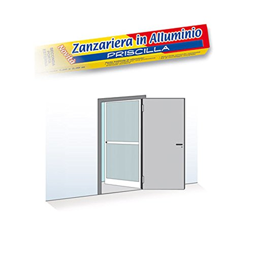 Mosquitera de una puerta abatible, 100 x 240 cm, reducible, marco de aluminio, color blanco - 0950