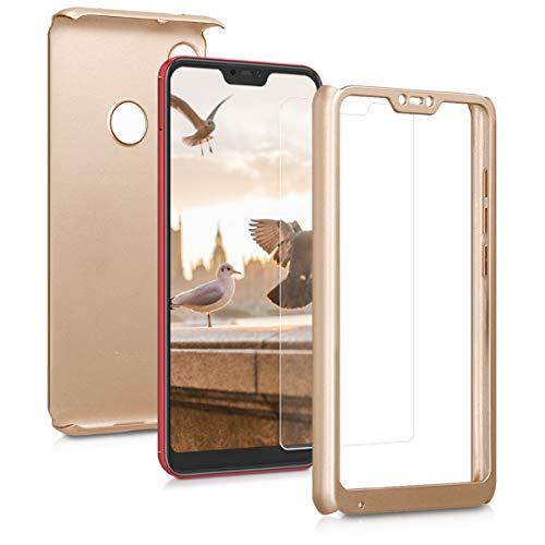 kwmobile Funda para Xiaomi Redmi 6 Pro/Mi A2 Lite - Carcasa Protectora Completa con Cristal Templado - Cover con Protector de Pantalla Duro