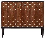 Casa Padrino Luxus Wohnzimmerschrank mit 2 Türen Braun/Dunkelbraun/Schwarz 125 x 42 x H. 107 cm - Luxus Wohnzimmermöbel