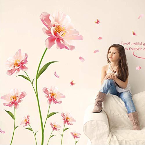 addthigne Romantische Wandaufkleber Rosa Blumen Für Wohnzimmer Valentines Room Art Aufkleber Dekoration Große Größe (210 cm * 140 cm)