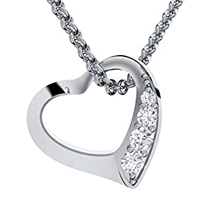 Amoonic Heart Necklace Sterlin Silver 925 by with - I Love You Gift Box - Women Jewellery Necklaces Pendant Elements Gifts for her Girlfriend Ladies Mum Girls Anniversary FF02SS.UK