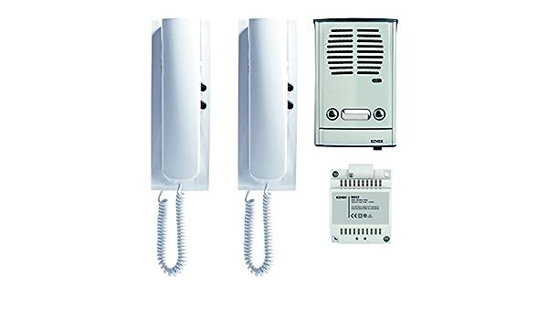 VIMAR 885E Kit portier pour Installation 2 Usagers avec connexion 4+2 conducteurs; comprenant: Platine en Saillie avec 2 Boutons Transformateur 2 Postes dappartement en Saillie Unit/é /Électronique