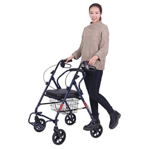 Leichtes Falten 4 Rad Shopping Trolley mit gepolstertem Sitz, älterer Roller Walker, abschließbare Bremsen und Tragekorb - blau (Vier-rad-rollator)