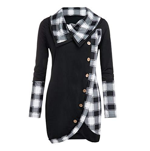 Damen Übergröße Bluse TWBB Mock Neck Top Langarm Kleid Cowl Neck Asymmetrisch Kariert Farbblock Casual Tunika T-Shirt Baggy Sweatshirt Bluse mit Knopf für Mädchen Party -