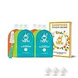 Hanu wiederverwendbare Quetschies (6er Set) mit Smoothie Rezeptbuch - BPA & PVC freie Quetschbeutel wiederverwendbar für eine gesunde und umweltfreundliche Kinderernährung