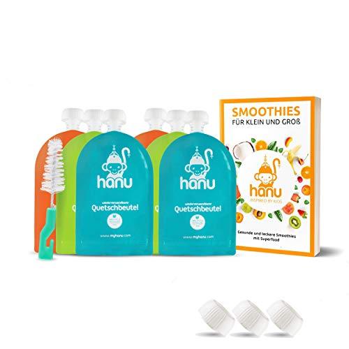 Quetschies wiederverwendbar + SUPERFOOD REZEPTBUCH 6er Set Quetschbeutel 150ml für gesunden Baby-Brei, Smoothies BPA-freie Quetschies einfach zum Befüllen & Reinigen